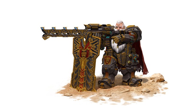 Picture weapons, warrior, fantasy, art, dwarf, Maxi Hoy, dwarf sniper, a gearhead