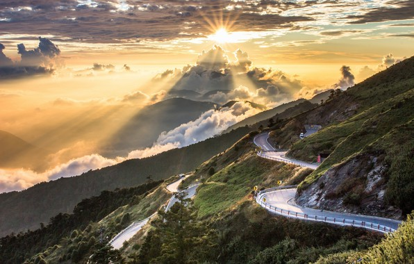 Picture road, the sky, landscape, sunrise, beauty, morning