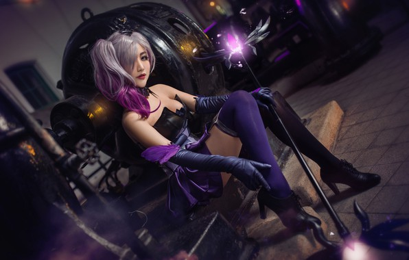 Picture purple, chest, look, girl, lights, pose, style, weapons, background, fire, magic, dark, technique, stockings, makeup, ...