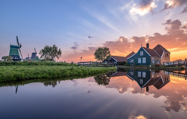 Picture morning, mill, Netherlands, Holland, Zaanse Schans