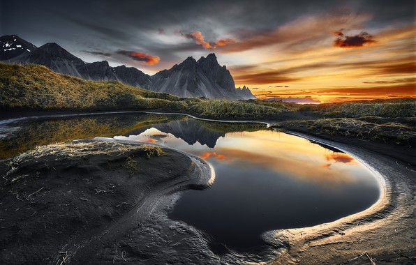 Picture water, landscape, mountains, nature, reflection, dawn, morning, Iceland
