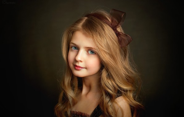 Picture look, hair, portrait, girl, blue eyes, bow