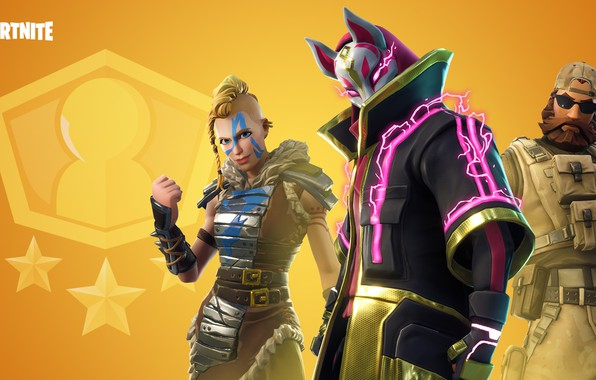Picture girl, the game, man, mask, cloak, characters, Fortnite