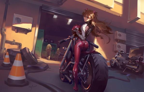 Picture girl, motorcycles, garage, anime, art, costume, helmet, red, Evangelion, character, Evangelion, Asuka Langley, Eva, garage, …
