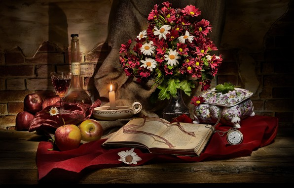 Picture flowers, the dark background, wine, apples, Board, watch, glass, bottle, food, candle, bouquet, alcohol, fabric, …
