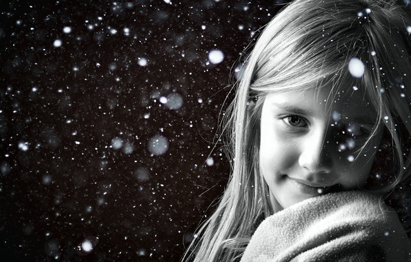 Picture snow, smile, Girl, black and white