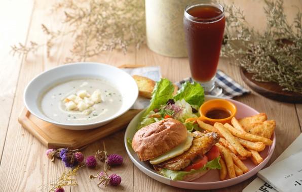 Picture beer, salad, potatoes, Burger