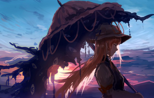 Picture girl, long hair, sunset, umbrella, anime, artwork, Touhou, symbols, anime girl, Strikingly Is Wait