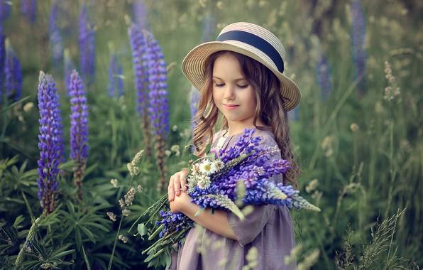 Picture field, summer, flowers, nature, bouquet, dress, girl, hat, child, lupins, Victoria Dubrovskaya