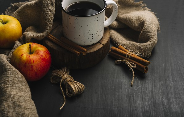 Picture autumn, leaves, background, tree, apples, coffee, colorful, mug, Cup, vintage, wood, background, autumn, leaves, cup, …