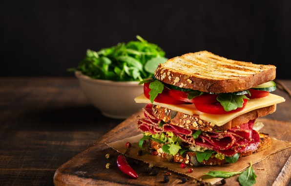 Picture sandwich, sandwich, salami, vegetables, cheese