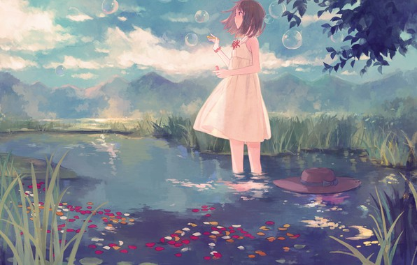 Picture summer, stream, hills, petals, bubbles, girl, vacation, straw hat, white sundress, the sky in the …