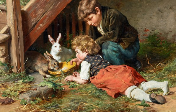 Picture German painter, German painter, Feeding in the afternoon, Felix Schlesinger, Felix Schlesinger, Feeding in the ...