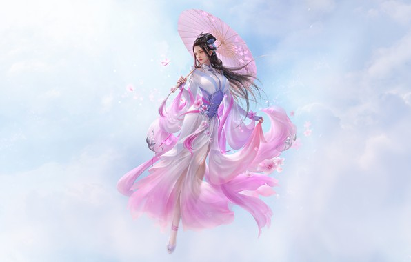 Picture Girl, Fantasy, Clouds, Sky, Beautiful, Art, Asian, Style, Umbrella, Illustration, Asia, Characters, Dress, 3Q STUDIO