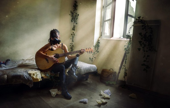 Picture girl, guitar, gas mask