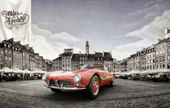 Picture Auto, The city, Retro, BMW, Machine, City, Coupe, Rendering, Retro, 1959, Vehicles, BMW 507, Transport, …