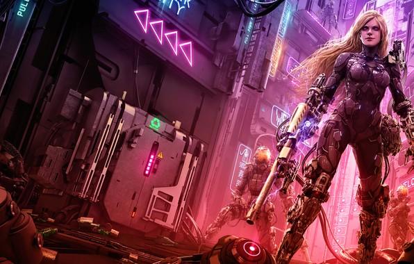 Picture art, neon, cyberpunk, women, blonde, cityscape, futuristic, futuristic armor