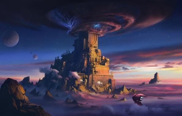 Picture Mountains, Stars, Rocks, Planet, Palace, Castle, Planet, Storm, Funnel, Space, Art, Planet, Fiction, Concept Art, …