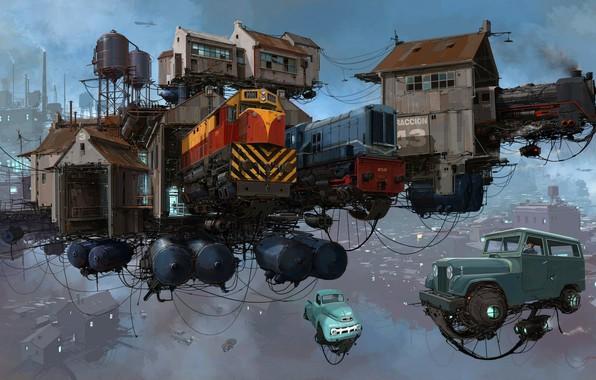 Picture The sky, Auto, Figure, The city, Locomotive, Machine, Train, The world, Trains, City, World, Fantasy, …