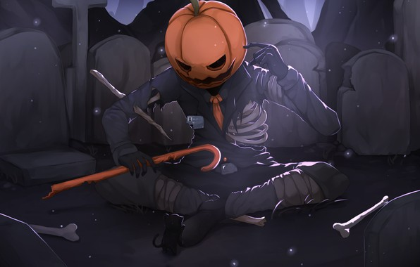 Picture skeleton, pumpkin, kitty, Halloween, Jack - conqueror of the pumpkins
