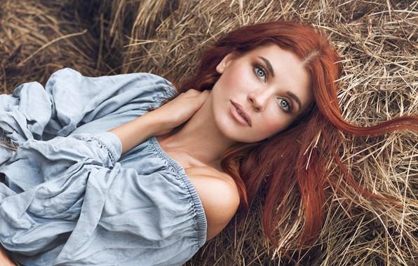 Picture look, girl, face, pose, hair, hay, shoulder, Elina Garipova