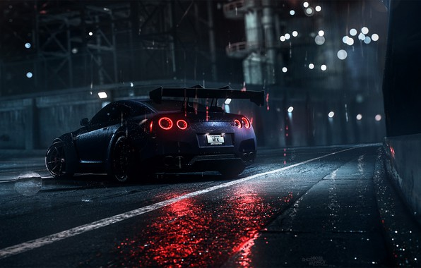 Picture Auto, Night, Machine, Rain, Nissan, GT-R, Need for Speed, Daredevil, Rendering, Nissan GT-R, Game Art, …