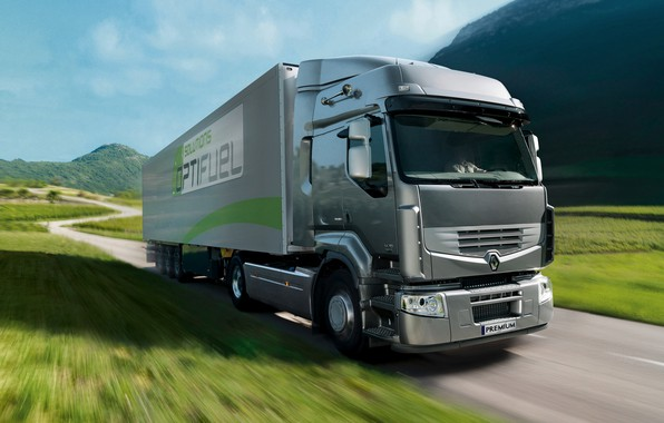 Picture grass, grey, movement, truck, Renault, tractor, 4x2, the trailer, Premium Route, Renault Trucks