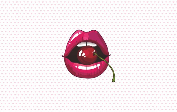 Picture cherry, figure, graphics, teeth, lips, hearts, red, lips, cherry, red lips
