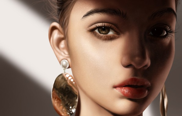 Picture look, girl, face, portrait, earrings, art, brown eyes
