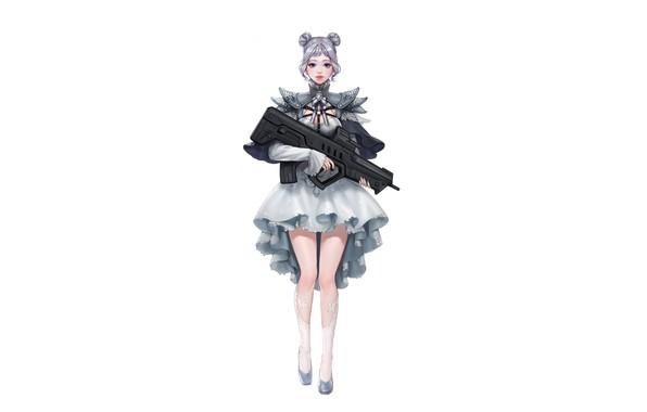 Picture Girl, Gun, Art, Style, Background, Weapon, Minimalism, Da Hye Lee, Lolita Gunslinger