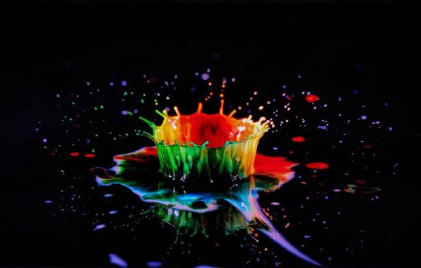 Picture squirt, splash, liquid, black background, liquid, splash, black background, the game of color, color play