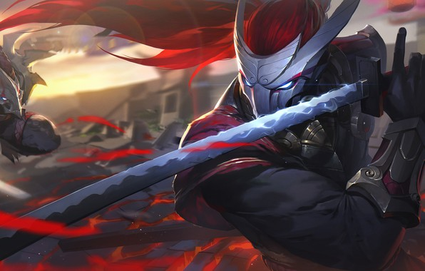 Picture sword, fantasy, game, armor, weapon, katana, blade, battle, League of Legends, digital art, artwork, mask, …