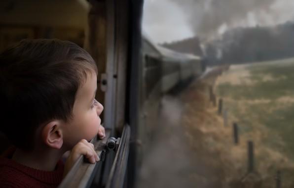 Picture train, boy, the car