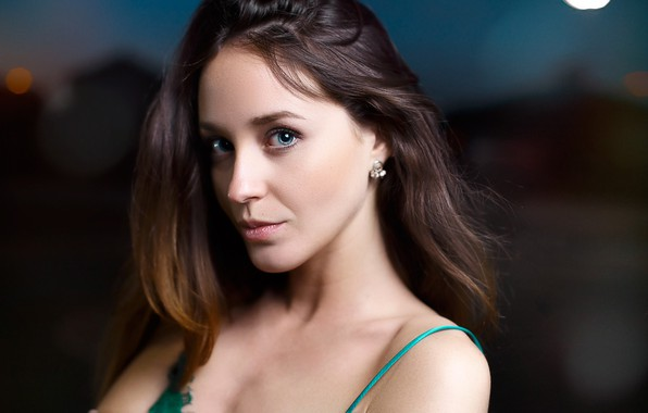 Picture look, night, close-up, background, model, portrait, makeup, hairstyle, brown hair, bokeh, Victor Kalman, Lorenza Dogs