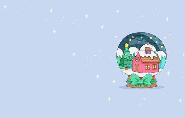Picture mood, new year, minimalism, vector, art, snow globe