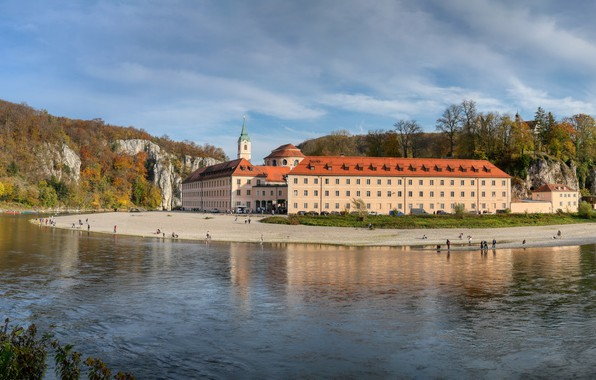 Picture photo, The city, River, Germany, Bayern, The monastery, Danube, Weltenburg Abbey