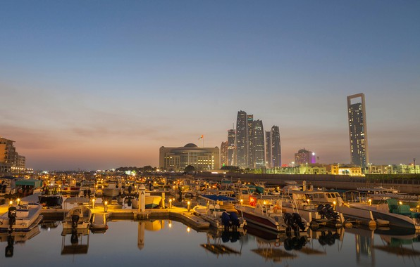 Picture the sky, lights, river, building, home, the evening, boats, skyscrapers, Abu Dhabi, UAE, piers