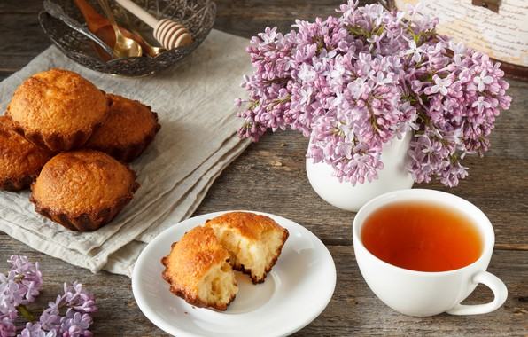 Picture flowers, background, tree, tea, spring, lilac, cupcake