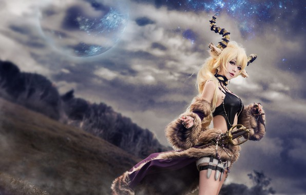 Picture field, forest, chest, the sky, look, girl, space, clouds, nature, face, sexy, pose, style, weapons, ...