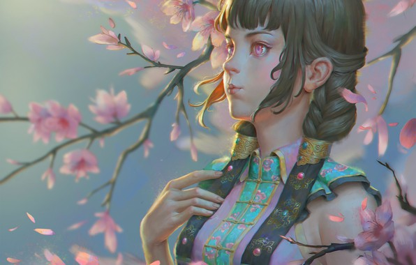 Picture the wind, spring, Sakura, art, Naranbaatar Ganbold, Maral Portrait