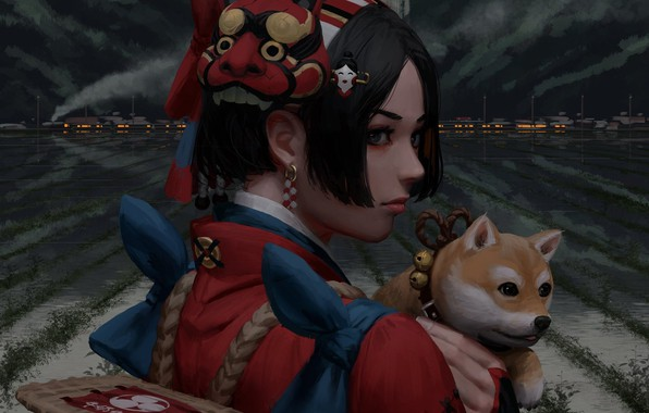 Picture city, girl, fantasy, art, dog, painting, artist, asian, digital art, buildings, artwork, mask, illustration, doge, …