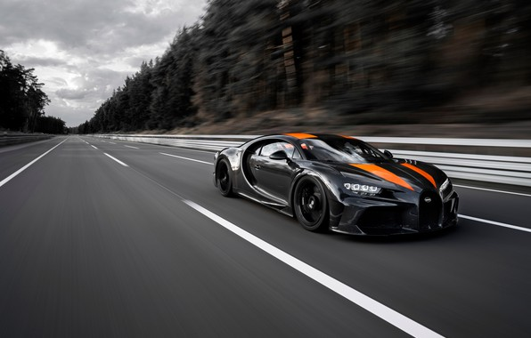 Picture asphalt, trees, speed, Bugatti, track, hypercar, Chiron, Super Sport 300+