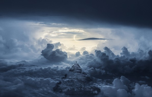 Picture road, clouds, the way, people, road, clouds, way, man, Mika Suutari