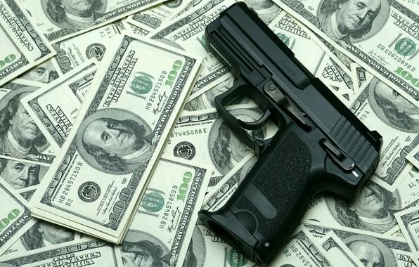 Picture gun, money, dollars