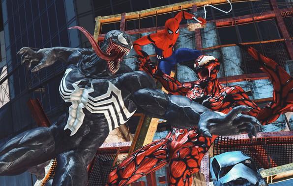 Picture Art, Marvel, Comics, Venom, Carnage, Spider Man, Fight