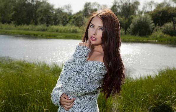 Picture grass, girl, pond, jacket, Niemira