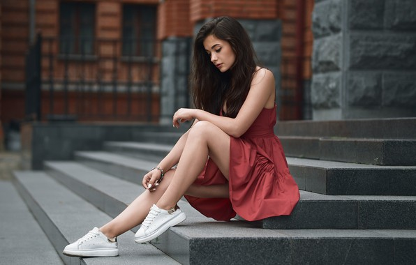 Picture girl, pose, feet, dress, stage, sneakers, Alexander Kahn