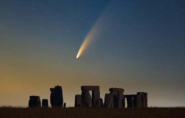 Picture the sky, stars, comet, Stonehenge, sky, stars, Stonehenge, comet, Declan Deval, NEOWISE