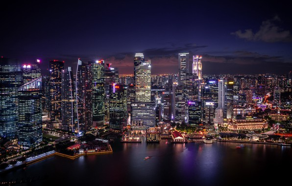 Picture city, lights, coast, water, blur, Singapore, buildings, architecture, skyscrapers, cityscape, height, night city, marina, aerial …