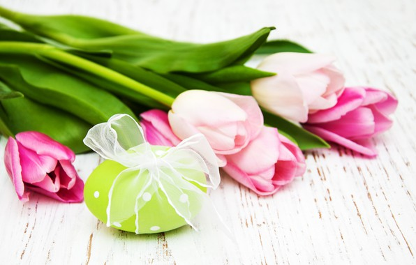 Picture flowers, eggs, Easter, tulips, happy, wood, pink, flowers, tulips, Easter, eggs, decoration